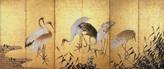雲谷等與《群鶴図》(右隻)17世紀 紙本金地着色