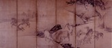 雲谷等顔 《群馬図屏風》(右隻) 桃山時代  紙本墨画淡彩